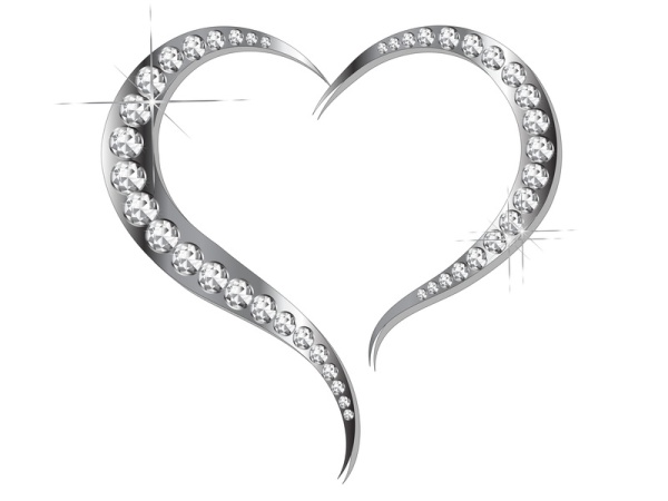 Abstract grey heart with silver diamonds