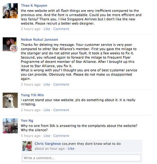 SIA customers pummel Facebook