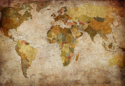 Map of the World. Old Paper Texture.