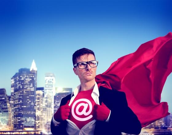 At sign Strong Superhero Success Professional Empowerment Stock